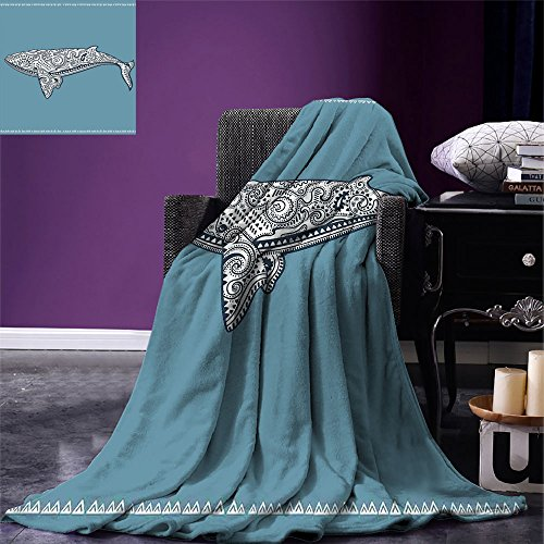 smallbeefly Nautical Digital Printing Blanket Ethnic Whale Fish with Totem Symbol and Kitsch Antique Paisley Pattern Summer Quilt Comforter Slate Blue and White by smallbeefly