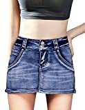 DELUXSEY Casual Skirt Pockets Mini Skirt Women (Denim Blue, M)