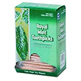 Royal RM115 Mint Cello-Wrapped Wood Toothpicks, 2 1/2'', Natural, Box of 1000 (Case of 15 Boxes)