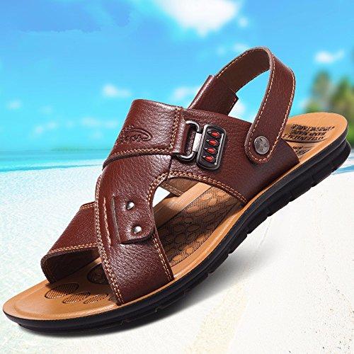 vera pelle sandali Uomini Il nuovo Uomini Spiaggia scarpa estate Tempo libero traspirante gioventù sandali Antiscivolo ,Marrone ,US=7.5,UK=7,EU=40 2/3,CN=41