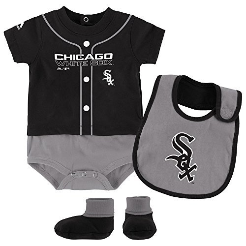 (Chicago White Sox Tiny Player Creeper, Bib, and Bootie Set 0-3 Months)