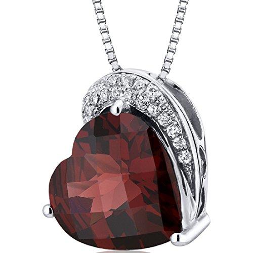 Tilted Heart Shape 4.00 carats Sterling Silver Rhodium Finish Garnet Slider Pendant