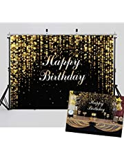 WOLADA 7x5FT Happy Birthday Backdrops for Photography Black and Gold Glitter Bokeh Backdrop Baby Adult Agedness Birthday Abstract Banner Cake Photo Background for Studio Props 11835