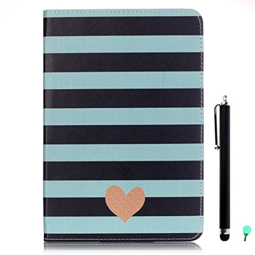 iPad Air/Air2 Case, iPad 5/6 Case, fengus Ultra Slim PU Leather Cover Stand Flip Case Cover with Cute Pattern Design Back Shell for Apple iPad Air/iPad Air 2+Stylus+Dust plug-Striped Heart
