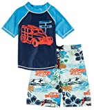 Charlie Rocket Kid's 2 Piece Woodie and Floral Swim Set, Indigo/Starlight Blue, 4T