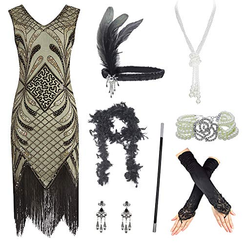 Women's Roaring 20s V-Neck Gatsby Flapper Dresses with Accessories Set Golden]()