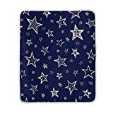 My Little Nest Warm Throw Blanket Doodle Stars Lightweight Microfiber Soft Blanket Everyday Use for Bed Couch Sofa 50'' x 60''