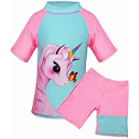 Suyye Girls Unicorn Two Pieces Rash Guard Swimsuit Long Sleeve Tankini