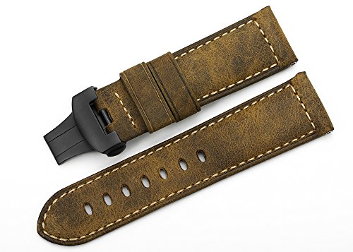 - iStrap 24mm Vintage Assolutamente Calf Leather Watch Band & Black PVD Steel Deployment Clasp Asso Strap