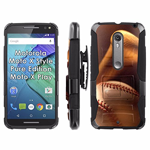 Motorola [Moto X Style] Pure Edition [Moto X Play] Phone Cover, Baseball Bat- Black Blitz Hybrid Armor Phone Case for [Moto X Play] with [Kickstand and Holster] (Edition Baseball Bat)