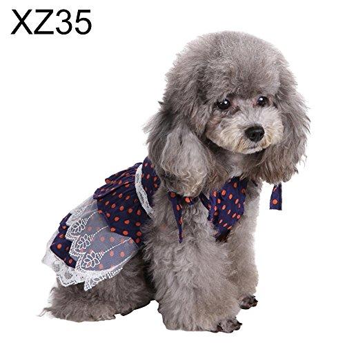 FidgetFidget Pet Puppy Dots Vest Harness Tutu Dresses Apparel Clothes for Small Dog Cat Bling 98896 - Sapphire Blue Polka Dot Size 2 - Sapphire Dot