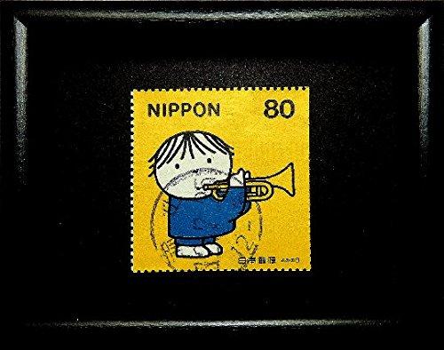 Boy with trumpet, music -Handmade Framed Postage Stamp Art 18220