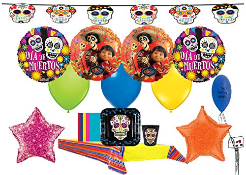 - Coco Day of The Dead Party Pack for 16 Guests with Balloons