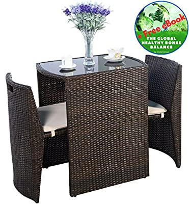 Global Group Outdoor Furniture - Patio Wicker Dining Table and Chairs With Cushions Set 3 Piece Brown - All-Weather - Great for Backyard Porch Garden and Balcony - Free Gift eBook