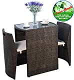 Outdoor Furniture - Patio Wicker Dining Table and Chairs With Cushions Set 3 Piece Brown - All-Weather - Great for Backyard Porch Garden and Balcony - by Global Group