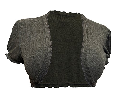 EVogues Plus size Ruffled Trim Open Front Cropped Bolero Shrug Gray - 2X