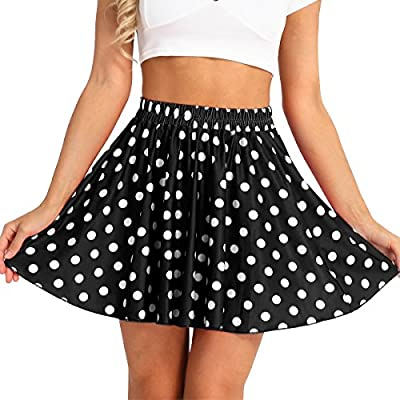 Freebily Fashion Women Stretch High Waist Skater Polka-dot Pleated Swing Skirt Dress