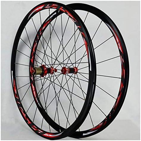 Bike Wheelset 700Cロードバイクフロントリア自転車のホイールセット超軽量アルミ合金ホイールセット30ミリメートルアナル封印されたベアリングカーボンファイバー7-11スピードフリーホイールセットC / Vブレーキ (Color : A)