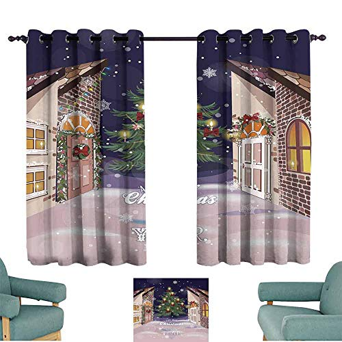 Mannwarehouse Christmas Bedroom Curtain Winter Setting Streets Filled with Snow Traditional Pine Tree Ribbons Carol Quote Suitable for Bedroom Living Room Study, etc.55 Wx39 L Multicolor