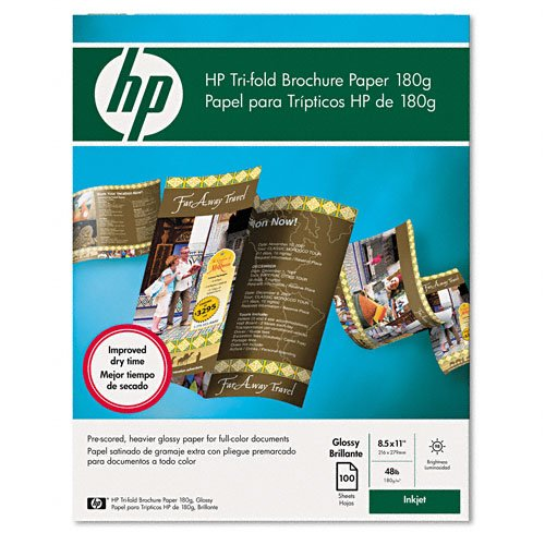 HP : Inkjet Tri-Fold Brochure Paper, Letter, Bright White Gloss, 100 per Pack -:- Sold as 2 Packs of - 100 - / - Total of 200 Each