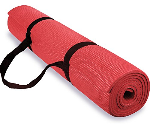 Spoga 1/4-Inch Anti-Slip Exercise Yoga Mat with Carrying Strap, Red