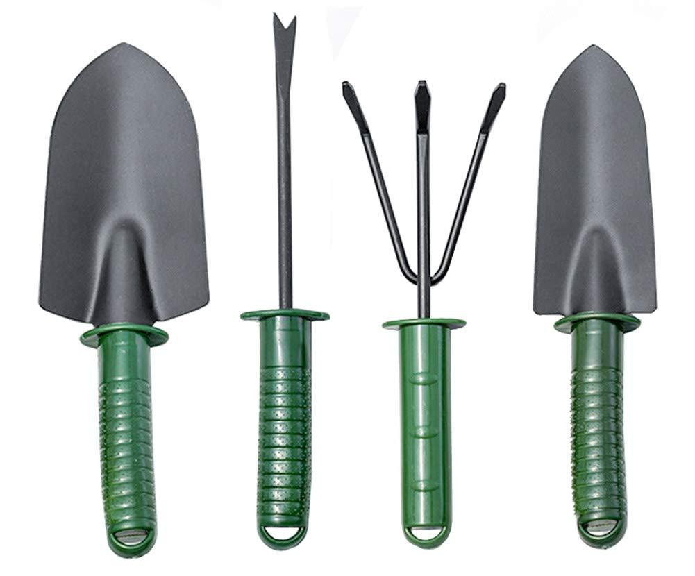 Garden Tools Set, 4Pcs Heavy Duty Gardening Tools Kit - Trowel, Transplanting Spade, Rake, Weeding Fork, Anti Rust Yard Essentials Vegetable Herb Garden Hand Tools for Planting Potting Pruning (Green)