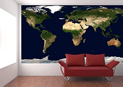 Amazon Com Physical Earth Satellite Image Map Wall Decal Peel
