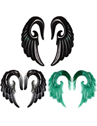 12mm Fuego Elves Mix Colors Acrylic Wings Spiral Taper Plug Gauge Ear Stretching Kit, Vintage Angel Wings 3 Pairs Tapers Tunnels Plugs Ear Stretching