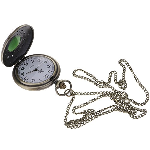 Pocket Stopwatch - VANKER Retro Emerald Cat Eye Stone Quartz Pocket Watch Carved Hollow Pendent Necklace Chain