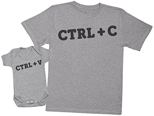 CTRL C and CTRL V - Matching Father Baby Gift Set - Mens T Shirt & Baby Bodysuit - Grey - Medium & 12-18 Months