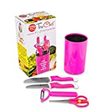 TruChef Kids Chef Set With Universal Holder, Includes Paring & Chef Knife, Peeler, Scissors (Pink)