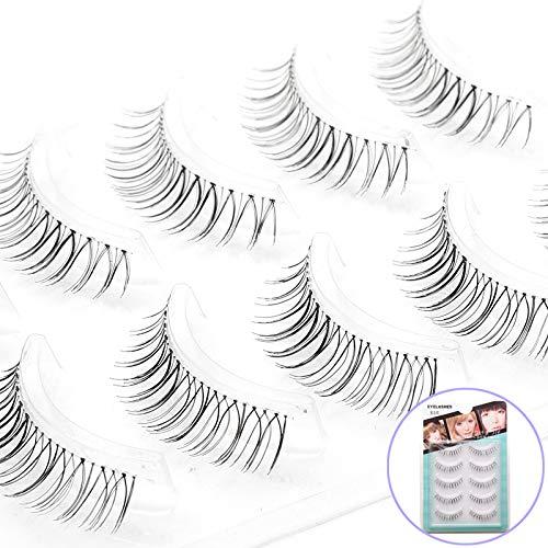 ICYCHEER Pestañas postizas negras y marrones naturales de Wispy, pestañas de ojos falsas, largas, reutilizables, transparentes