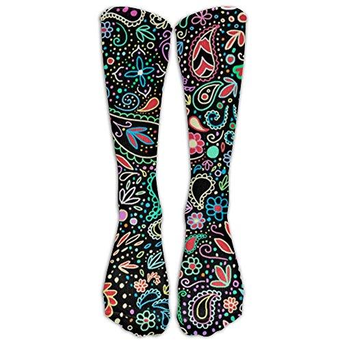 Most Fashion Maker Blacklight Chalkboard Paisley Athletic Socks Knee High Socks For Men&Women Sport Long Sock Tube Long Stockings Christmas (Thigh Boards)
