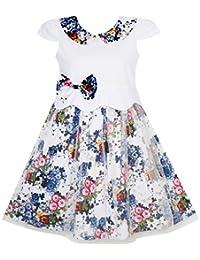 Sunny Fashion Girls Dress Sleeveless Halter Peony Flower Print Blue Pink