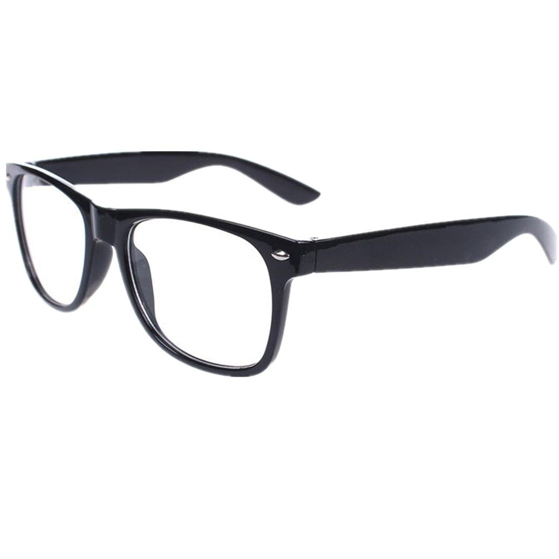Nerd Brille ohne Stärke Brille im Wayfarer Stil mit Klarglas Rahmen ...