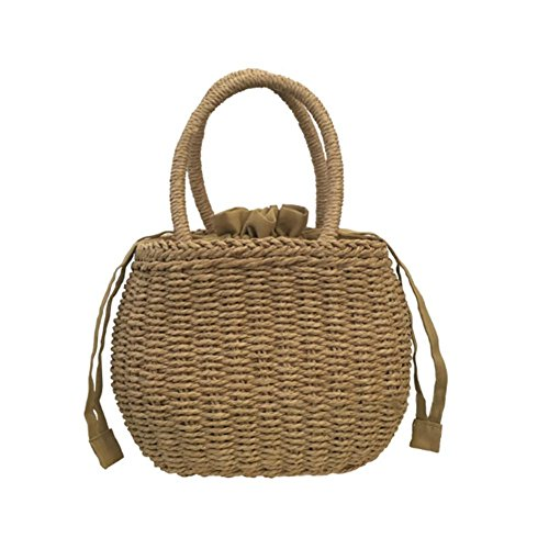 Womens Camel Travel Tote Bag Summer Beach Retro Rattan Woven Handbag Household Storage Basket