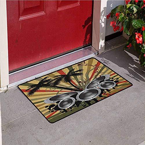 - GloriaJohnson Modern Front Door mat Carpet Palm Trees Striped Ombre Backdrop Music Loudspeaker Art Print Machine Washable Door mat W23.6 x L35.4 Inch Red Tan Hunter Green Black Grey