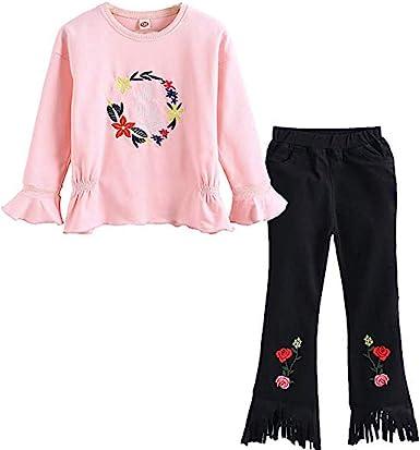 Amazon Com Conjunto De Ropa De Primavera Para Bebes Y Ninas De 3 A 11 Anos Para Ninos Viejos Y Ninos Bordados Con Elasticos Y Pantalones Clothing