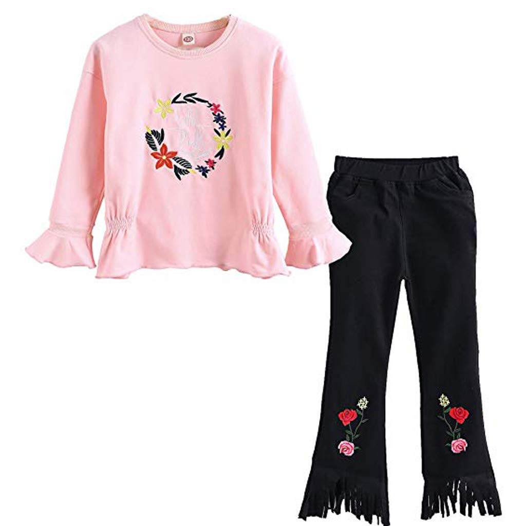 Lanhui Toddler Baby Girls Embroidered Elasticited Flares Top /& Pant Clothes Kids Set