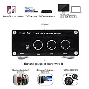 【UPDATE】2 Channel Stereo Audio Amplifier Receiver Mini Hi-Fi Class D Integrated Amp 2.0CH for Home Speakers 100W x 2 With Bass and Treble Control TPA3116(With power supply)
