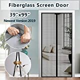 Fiberglass Mesh Magnetic Screen Door, IKSTAR Instant Screen Door with Full Frame Magics Tape Mesh Curtain for Front/Back Door Home Outside, Kids/Pets Walk Through Easily Fit Door Up to 36