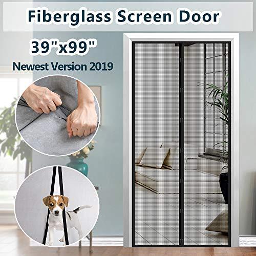 Fiberglass Door - Fiberglass Mesh Magnetic Screen Door, IKSTAR Instant Screen Door with Full Frame Magics Tape Mesh Curtain for Front/Back Door Home Outside, Kids/Pets Walk Through Easily Fit Door Up to 36