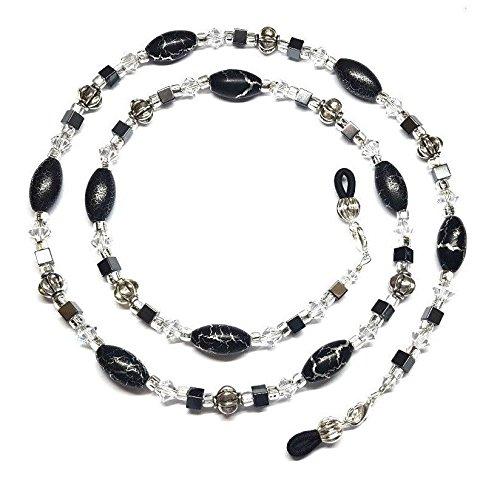 - Austrian Crystal Black & Silver Cracked Eyeglass Chain Holder
