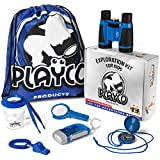 Playco Products Kids Explorer Kit - Includes Binoculars, Compass, Magnifying Glass, Flashlight, Whistle