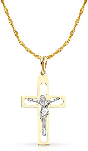 14K Two Tone Gold Crucifix Cross Pendant with 1.2mm Singapore Chain Chain Necklace