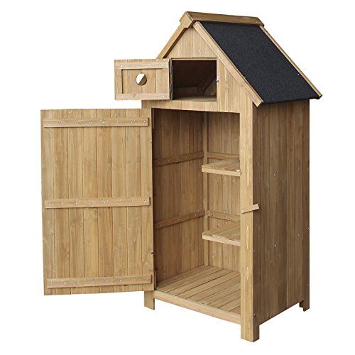 Wiltec Slim utility shed, made of fir wood, with a tar roof, 770x540x1420mm, building plans, garden storage