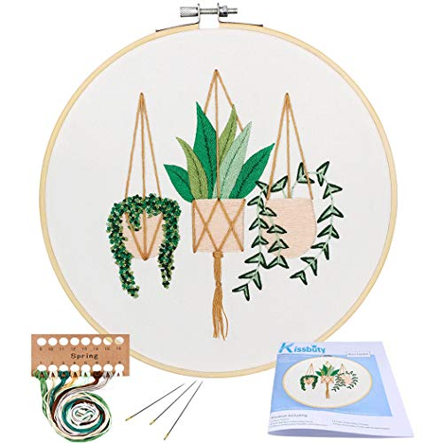 Full Range of Embroidery Starter Kit with Pattern, Kissbuty Cross Stitch Kit Including Embroidery Cloth with Plant Pattern, Bamboo Embroidery Hoop, Color Threads and Tools Kit (Epipremnum Aureum) (Best Cross Stitch Patterns)