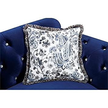 Furniture of America Sharon Tufted Fabric Loveseat in Blue