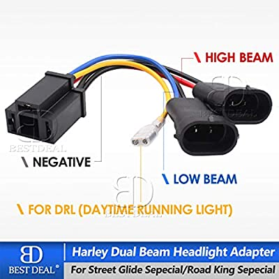Multi-color Halo Harley Headlight & Multi-color Halo Passing Lamp For Harley Road King (Silver Housing)