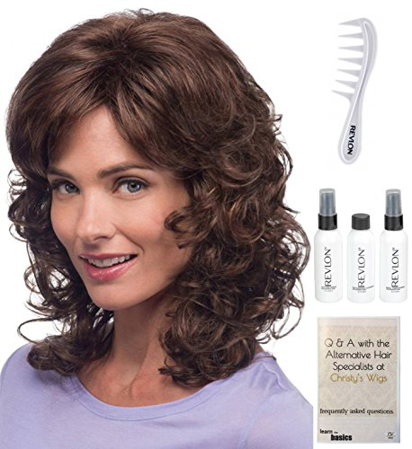 Bundle - 6 Items: Jessica Wig by Estetica, Christy's Wigs Q & A Booklet, Revlon Synthetic Styling Spray, Texturizing Cleanser, Conditioner & Wide Tooth Comb - Color CARAMEL/KISS (Jessica Cleansers)